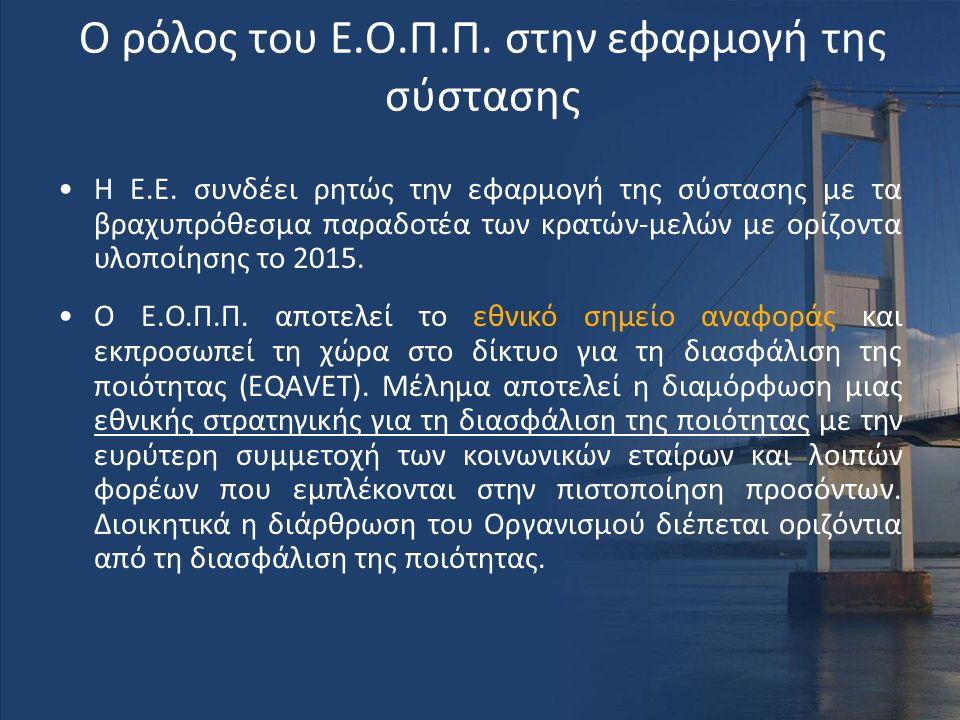 Ο ρόλος του Ε.Ο.Π.Π. στην εφαρμογή της σύστασης •Η Ε.Ε. συνδέει ρητώς την εφαρμογή της σύστασης με τα βραχυπρόθεσμα παραδοτέα των κρατών-μελών με ορίζ