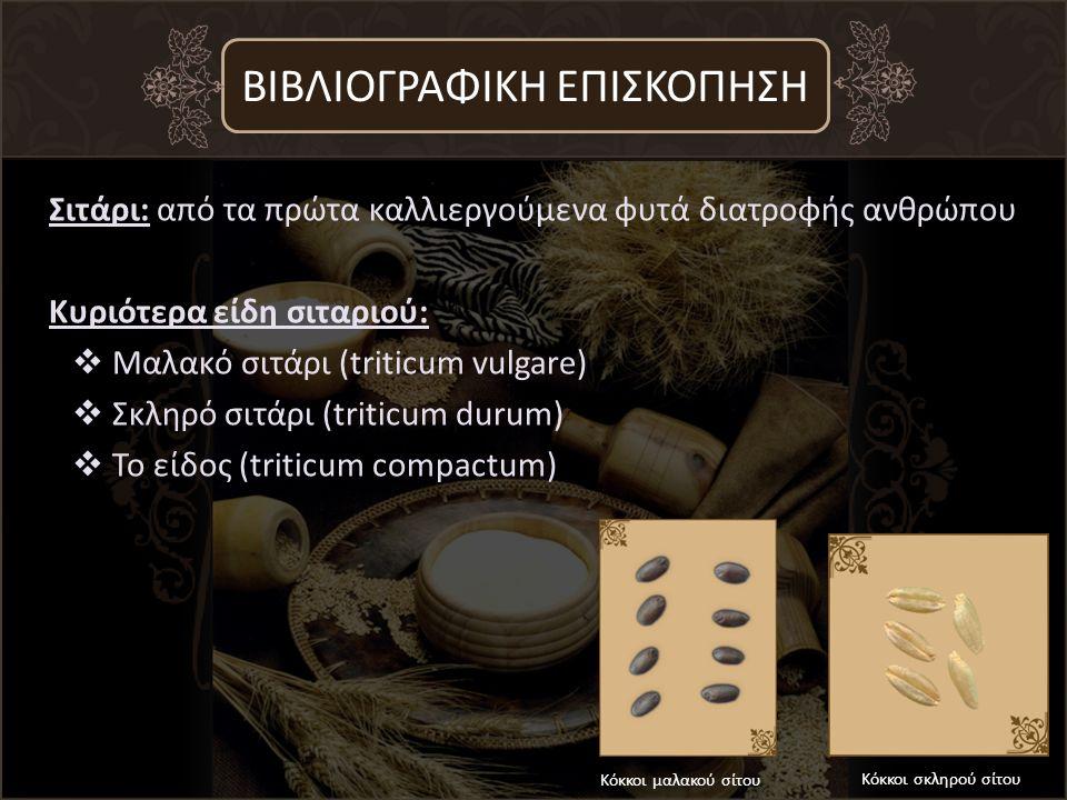 Σιτάρι: από τα πρώτα καλλιεργούμενα φυτά διατροφής ανθρώπου Κυριότερα είδη σιταριού:  Μαλακό σιτάρι (triticum vulgare)  Σκληρό σιτάρι (triticum durum)  Το είδος (triticum compactum) ΒΙΒΛΙΟΓΡΑΦΙΚΗ ΕΠΙΣΚΟΠΗΣΗ Κόκκοι μαλακού σίτου Κόκκοι σκληρού σίτου
