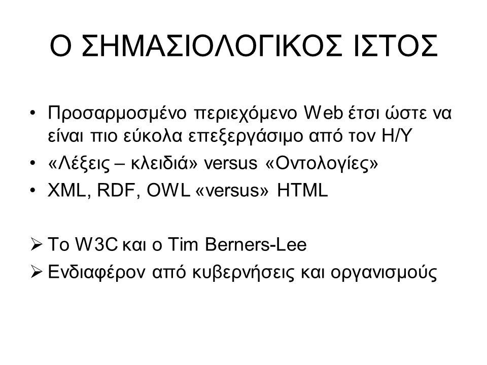 •Προσαρμοσμένο περιεχόμενο Web έτσι ώστε να είναι πιο εύκολα επεξεργάσιμο από τον Η/Υ •«Λέξεις – κλειδιά» versus «Οντολογίες» •XML, RDF, OWL «versus» HTML  Το W3C και ο Tim Berners-Lee  Ενδιαφέρον από κυβερνήσεις και οργανισμούς