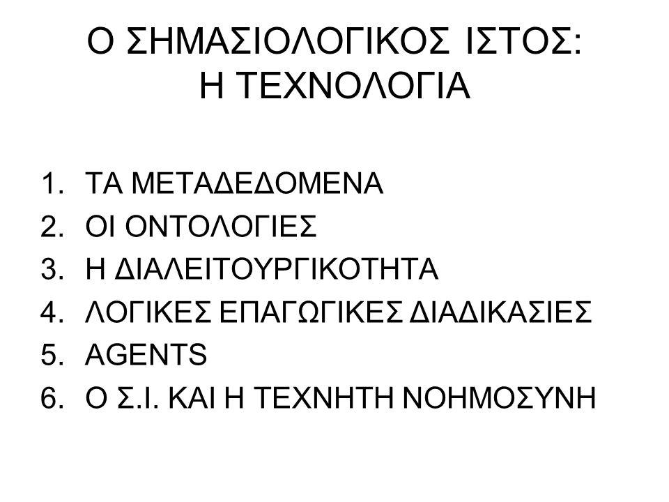 Ο ΣΗΜΑΣΙΟΛΟΓΙΚΟΣ ΙΣΤΟΣ: Η ΤΕΧΝΟΛΟΓΙΑ 1.ΤΑ ΜΕΤΑΔΕΔΟΜΕΝΑ 2.ΟΙ ΟΝΤΟΛΟΓΙΕΣ 3.Η ΔΙΑΛΕΙΤΟΥΡΓΙΚΟΤΗΤΑ 4.ΛΟΓΙΚΕΣ ΕΠΑΓΩΓΙΚΕΣ ΔΙΑΔΙΚΑΣΙΕΣ 5.AGENTS 6.Ο Σ.Ι.