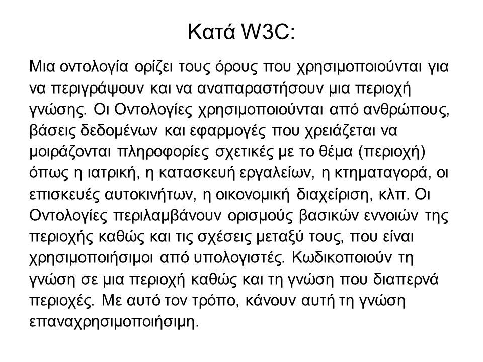 Κατά W3C: Μια οντολογία ορίζει τους όρους που χρησιμοποιούνται για να περιγράψουν και να αναπαραστήσουν μια περιοχή γνώσης.