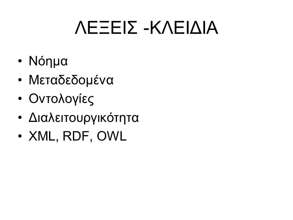 ΛΕΞΕΙΣ -ΚΛΕΙΔΙΑ •Νόημα •Μεταδεδομένα •Οντολογίες •Διαλειτουργικότητα •XML, RDF, OWL
