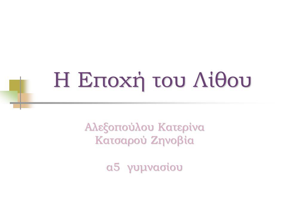 Η Εποχή του Λίθου Αλεξοπούλου Κατερίνα Κατσαρού Ζηνοβία α5 γυμνασίου