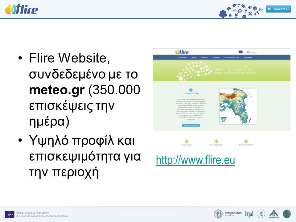•Flire Website, συνδεδεμένο με το meteo.gr (350.000 επισκέψεις την ημέρα) •Υψηλό προφίλ και επισκεψιμότητα για την περιοχή http://www.flire.eu