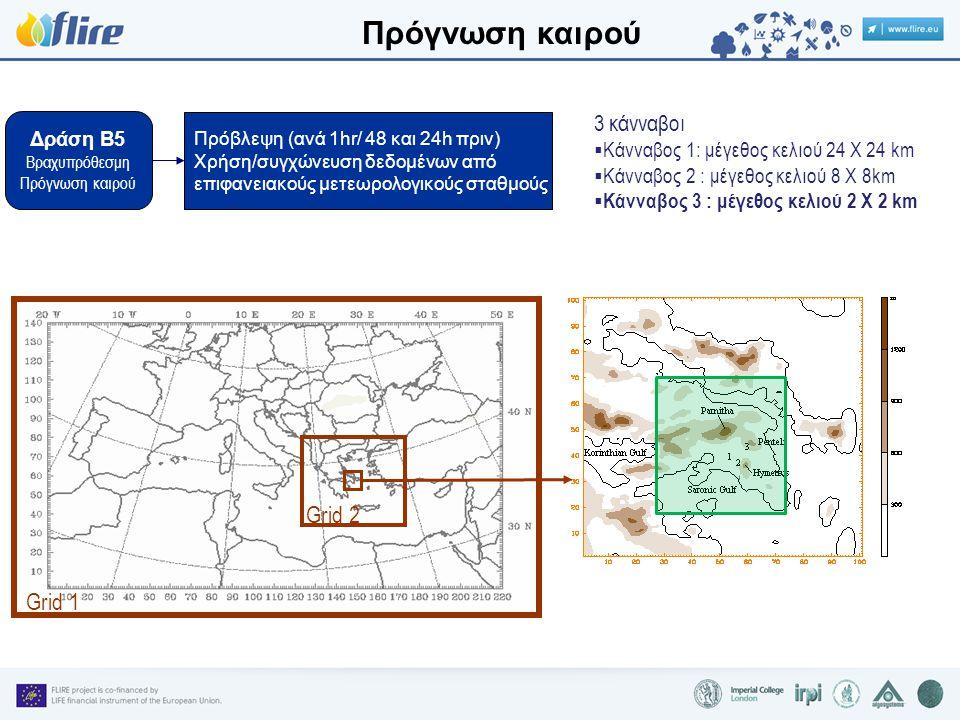 Δράση B5 Βραχυπρόθεσμη Πρόγνωση καιρού Πρόβλεψη (ανά 1hr/ 48 και 24h πριν) Χρήση/συγχώνευση δεδομένων από επιφανειακούς μετεωρολογικούς σταθμούς 3 κάνναβοι  Κάνναβος 1: μέγεθος κελιού 24 Χ 24 km  Κάνναβος 2 : μέγεθος κελιού 8 Χ 8km  Κάνναβος 3 : μέγεθος κελιού 2 Χ 2 km Grid 1 Grid 2 Πρόγνωση καιρού