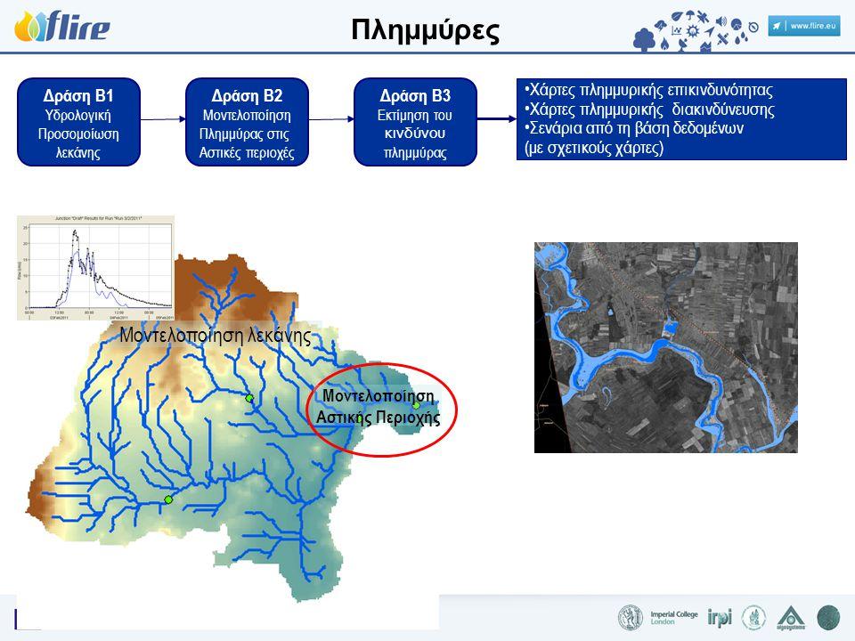 Δράση B1 Υδρολογική Προσομοίωση λεκάνης Δράση B2 Μοντελοποίηση Πλημμύρας στις Αστικές περιοχές Δράση B3 Εκτίμηση του κινδύνου πλημμύρας •Χάρτες πλημμυρικής επικινδυνότητας •Χάρτες πλημμυρικής διακινδύνευσης •Σενάρια από τη βάση δεδομένων (με σχετικούς χάρτες) Μοντελοποίηση λεκάνης Μοντελοποίηση Αστικής Περιοχής Πλημμύρες