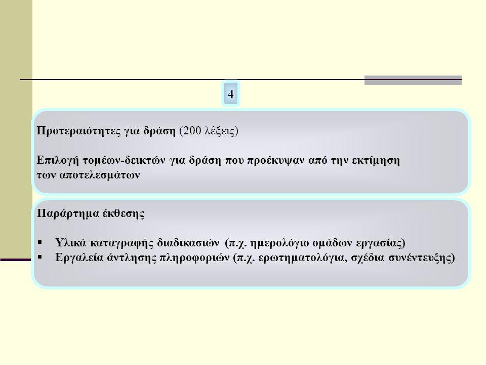 Προτεραιότητες για δράση (200 λέξεις) Επιλογή τομέων-δεικτών για δράση που προέκυψαν από την εκτίμηση των αποτελεσμάτων 4 Παράρτημα έκθεσης  Υλικά καταγραφής διαδικασιών (π.χ.