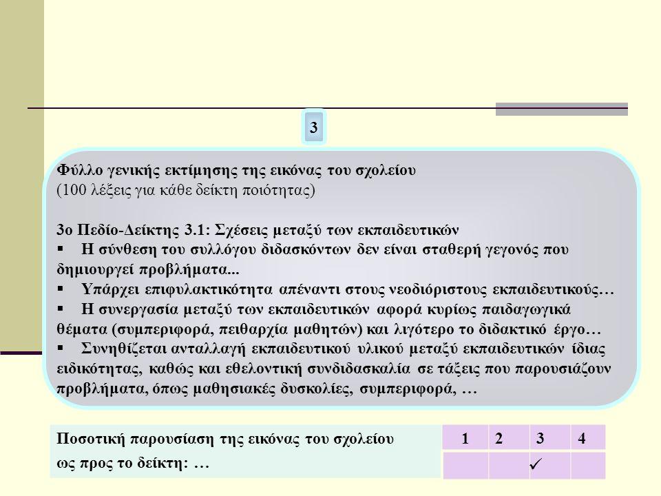 Ποσοτική παρουσίαση της εικόνας του σχολείου ως προς το δείκτη: … 1234  3 Φύλλο γενικής εκτίμησης της εικόνας του σχολείου (100 λέξεις για κάθε δείκτ