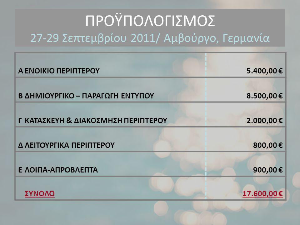 ΠΡΟΫΠΟΛΟΓΙΣΜΟΣ 27-29 Σεπτεμβρίου 2011/ Αμβούργο, Γερμανία ΑΕΝΟΙΚΙΟ ΠΕΡΙΠΤΕΡΟΥ 5.400,00 € ΒΔΗΜΙΟΥΡΓΙΚΟ – ΠΑΡΑΓΩΓΗ ΕΝΤΥΠΟΥ 8.500,00 € ΓΚΑΤΑΣΚΕΥΗ & ΔΙΑΚΟΣΜΗΣΗ ΠΕΡΙΠΤΕΡΟΥ 2.000,00 € ΔΛΕΙΤΟΥΡΓΙΚΑ ΠΕΡΙΠΤΕΡΟΥ800,00 € ΕΛΟΙΠΑ-ΑΠΡΟΒΛΕΠΤΑ 900,00 € ΣΥΝΟΛΟ 17.600,00 €
