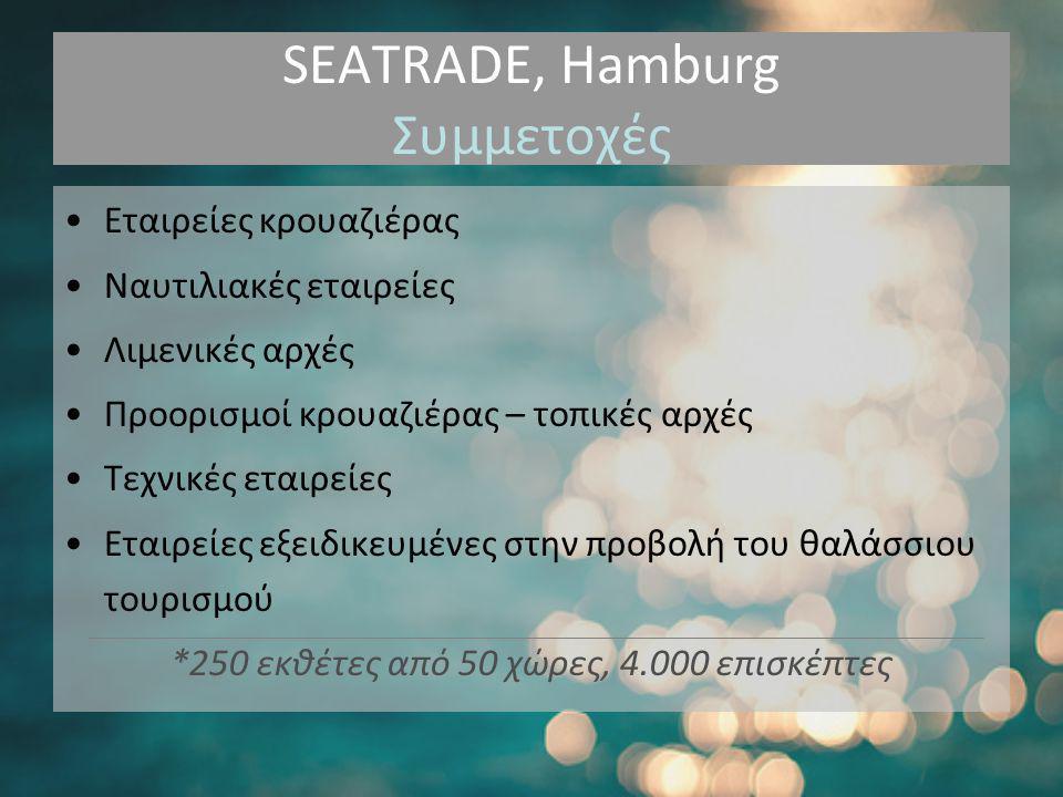 SEATRADE, Hamburg Συμμετοχές •Εταιρείες κρουαζιέρας •Ναυτιλιακές εταιρείες •Λιμενικές αρχές •Προορισμοί κρουαζιέρας – τοπικές αρχές •Τεχνικές εταιρείες •Εταιρείες εξειδικευμένες στην προβολή του θαλάσσιου τουρισμού *250 εκθέτες από 50 χώρες, 4.000 επισκέπτες