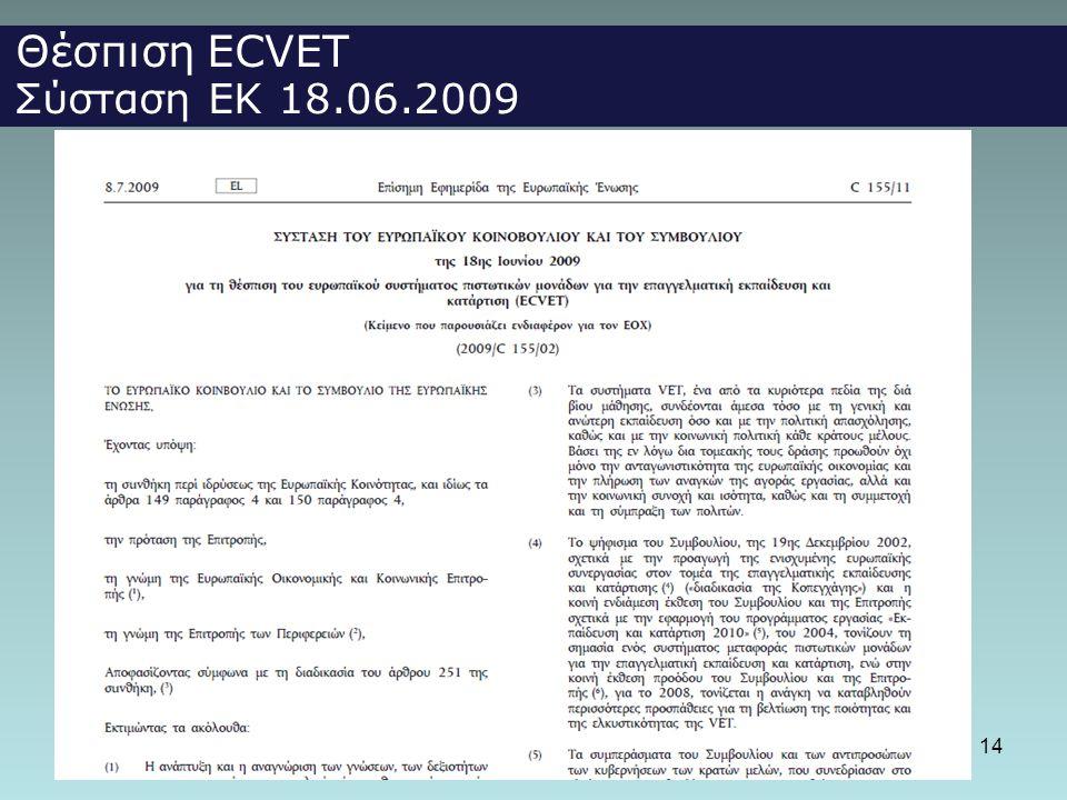 14 Θέσπιση ECVET Σύσταση ΕΚ 18.06.2009