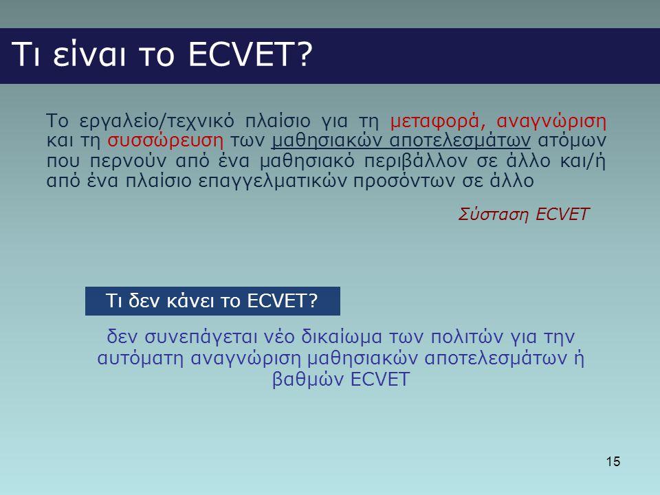 15 Τι είναι το ECVET? Το εργαλείο/τεχνικό πλαίσιο για τη μεταφορά, αναγνώριση και τη συσσώρευση των μαθησιακών αποτελεσμάτων ατόμων που περνούν από έν