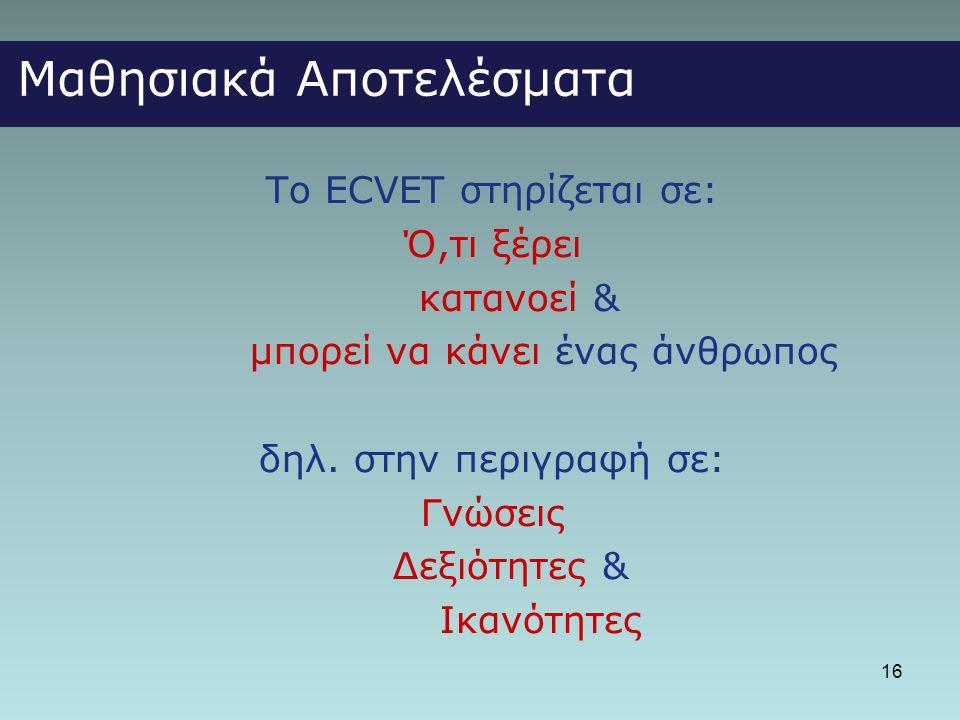16 Μαθησιακά Αποτελέσματα Το ECVET στηρίζεται σε: Ό,τι ξέρει κατανοεί & μπορεί να κάνει ένας άνθρωπος δηλ. στην περιγραφή σε: Γνώσεις Δεξιότητες & Ικα