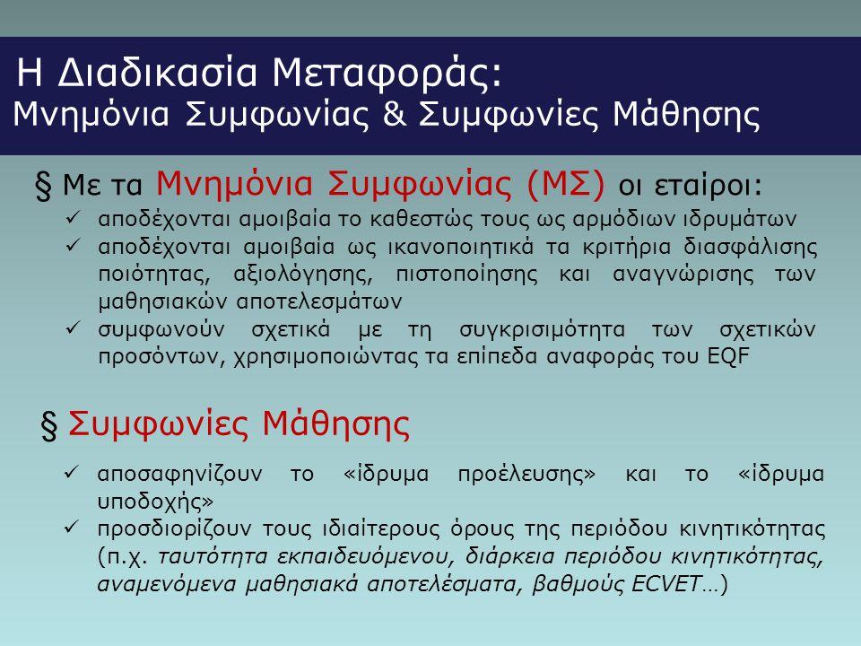 Η Διαδικασία Μεταφοράς: Μνημόνια Συμφωνίας & Συμφωνίες Μάθησης  Με τα Μνημόνια Συμφωνίας (ΜΣ) οι εταίροι:  αποδέχονται αμοιβαία το καθεστώς τους ως