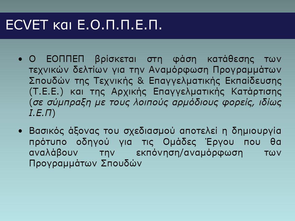 ECVET και Ε.Ο.Π.Π.Ε.Π. •Ο ΕΟΠΠΕΠ βρίσκεται στη φάση κατάθεσης των τεχνικών δελτίων για την Αναμόρφωση Προγραμμάτων Σπουδών της Τεχνικής & Επαγγελματικ