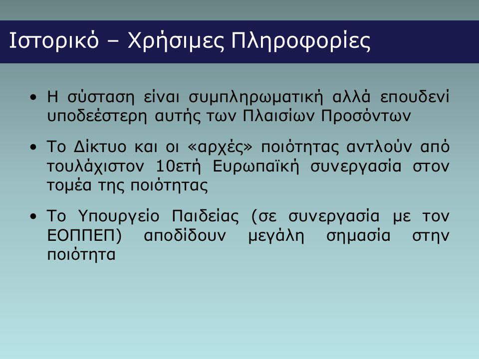 Ιστορικό – Χρήσιμες Πληροφορίες •Η σύσταση είναι συμπληρωματική αλλά επουδενί υποδεέστερη αυτής των Πλαισίων Προσόντων •Το Δίκτυο και οι «αρχές» ποιότητας αντλούν από τουλάχιστον 10ετή Ευρωπαϊκή συνεργασία στον τομέα της ποιότητας •Το Υπουργείο Παιδείας (σε συνεργασία με τον ΕΟΠΠΕΠ) αποδίδουν μεγάλη σημασία στην ποιότητα