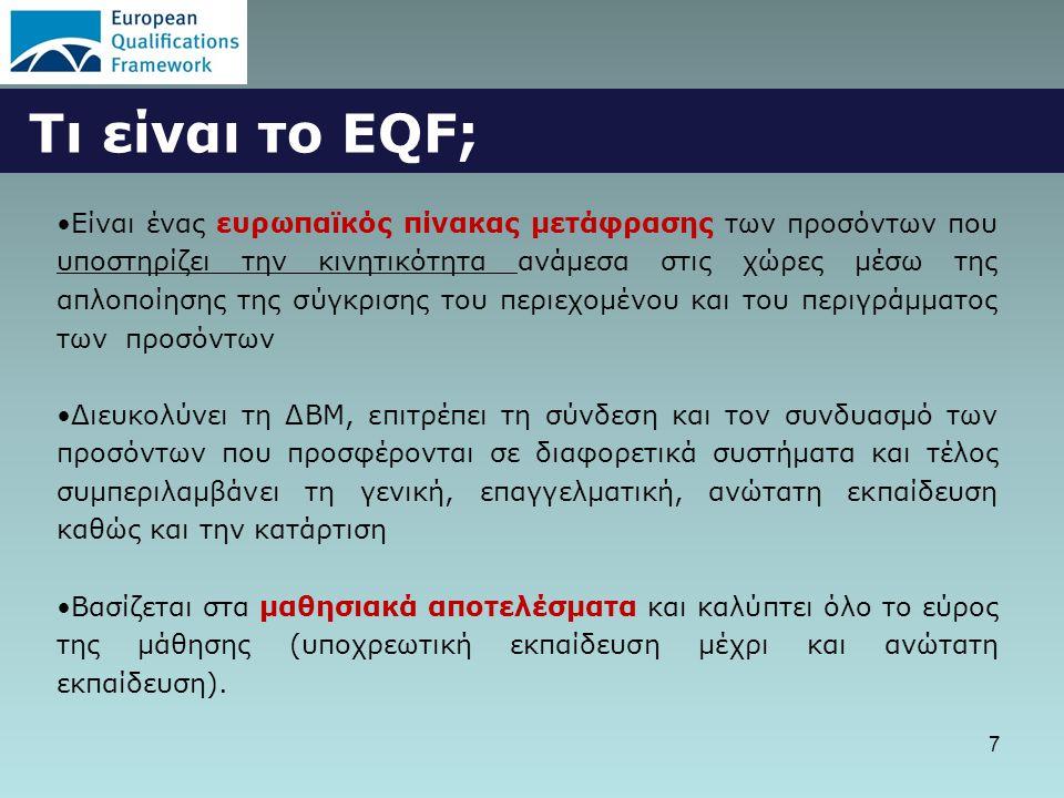 7 Τι είναι το EQF; •Είναι ένας ευρωπαϊκός πίνακας μετάφρασης των προσόντων που υποστηρίζει την κινητικότητα ανάμεσα στις χώρες μέσω της απλοποίησης της σύγκρισης του περιεχομένου και του περιγράμματος των προσόντων •Διευκολύνει τη ΔΒΜ, επιτρέπει τη σύνδεση και τον συνδυασμό των προσόντων που προσφέρονται σε διαφορετικά συστήματα και τέλος συμπεριλαμβάνει τη γενική, επαγγελματική, ανώτατη εκπαίδευση καθώς και την κατάρτιση •Βασίζεται στα μαθησιακά αποτελέσματα και καλύπτει όλο το εύρος της μάθησης (υποχρεωτική εκπαίδευση μέχρι και ανώτατη εκπαίδευση).