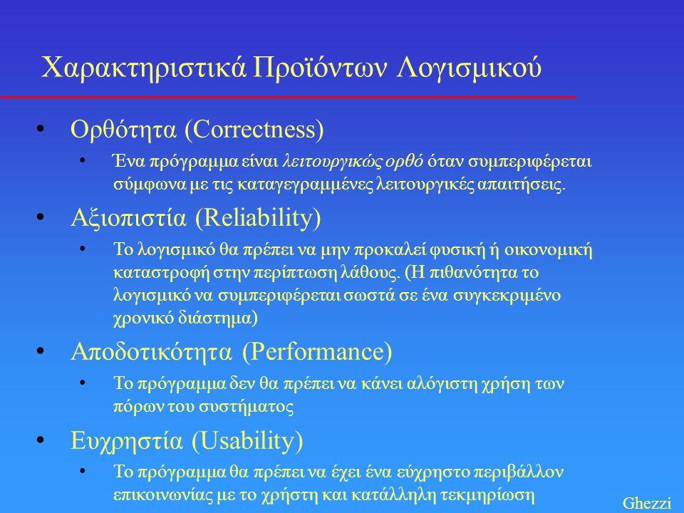 • Ορθότητα (Correctness) • Ένα πρόγραμμα είναι λειτουργικώς ορθό όταν συμπεριφέρεται σύμφωνα με τις καταγεγραμμένες λειτουργικές απαιτήσεις. • Αξιοπισ