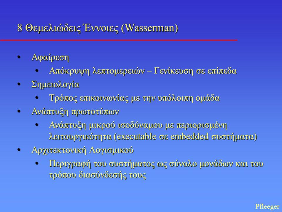 8 Θεμελιώδεις Έννοιες (Wasserman) • Αφαίρεση • Απόκρυψη λεπτομερειών – Γενίκευση σε επίπεδα • Σημειολογία • Τρόπος επικοινωνίας με την υπόλοιπη ομάδα