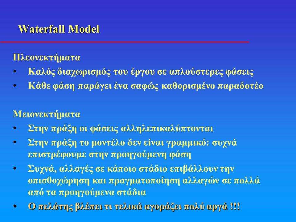 Waterfall Model Μειονεκτήματα • Στην πράξη οι φάσεις αλληλεπικαλύπτονται • Στην πράξη το μοντέλο δεν είναι γραμμικό: συχνά επιστρέφουμε στην προηγούμε