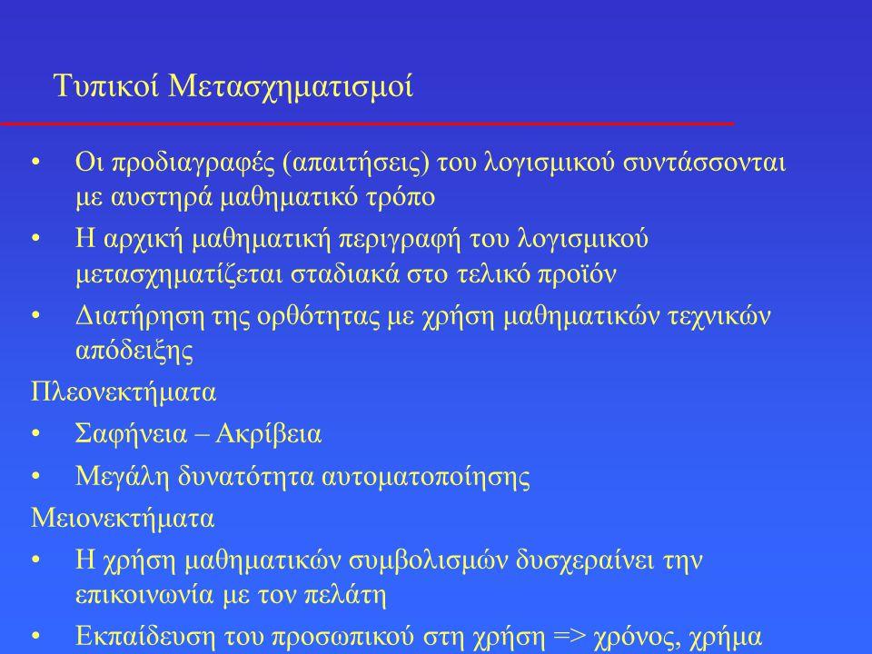 Τυπικοί Μετασχηματισμοί •Οι προδιαγραφές (απαιτήσεις) του λογισμικού συντάσσονται με αυστηρά μαθηματικό τρόπο •Η αρχική μαθηματική περιγραφή του λογισ