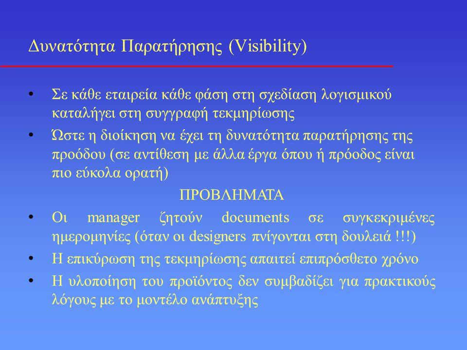 Δυνατότητα Παρατήρησης (Visibility) • Σε κάθε εταιρεία κάθε φάση στη σχεδίαση λογισμικού καταλήγει στη συγγραφή τεκμηρίωσης • Ώστε η διοίκηση να έχει