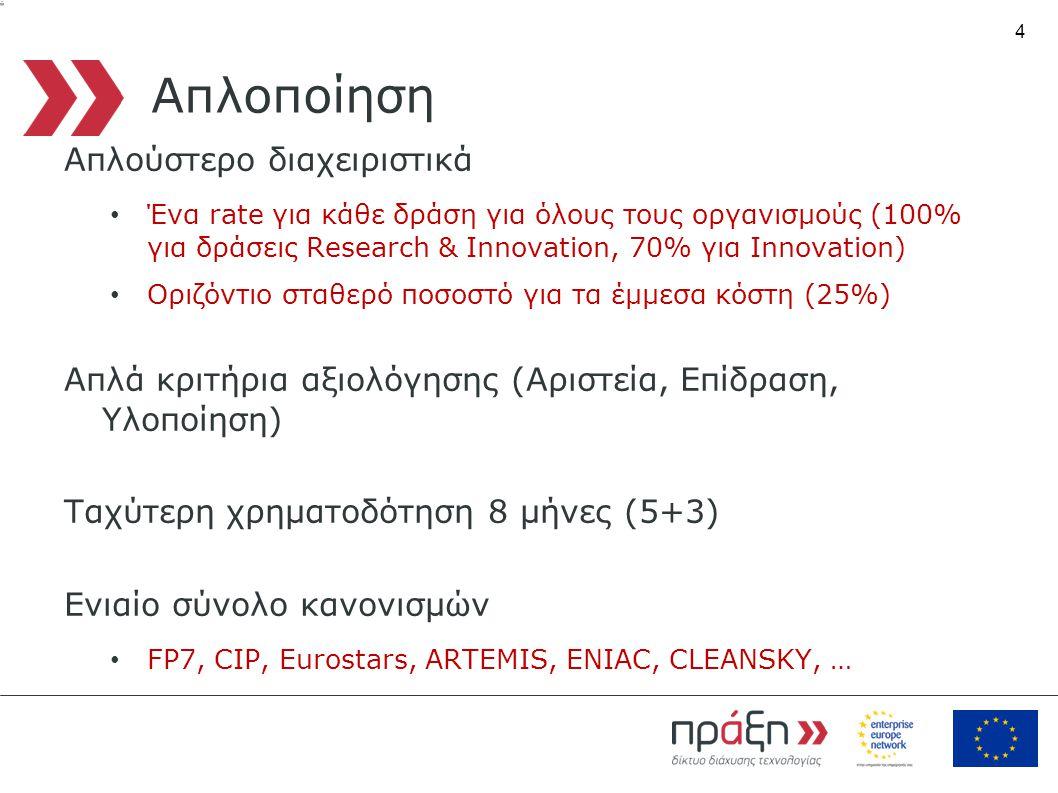 4 Απλοποίηση Απλούστερο διαχειριστικά • Ένα rate για κάθε δράση για όλους τους οργανισμούς (100% για δράσεις Research & Innovation, 70% για Innovation) • Οριζόντιο σταθερό ποσοστό για τα έμμεσα κόστη (25%) Απλά κριτήρια αξιολόγησης (Αριστεία, Επίδραση, Υλοποίηση) Ταχύτερη χρηματοδότηση 8 μήνες (5+3) Ενιαίο σύνολο κανονισμών • FP7, CIP, Eurostars, ARTEMIS, ENIAC, CLEANSKY, …