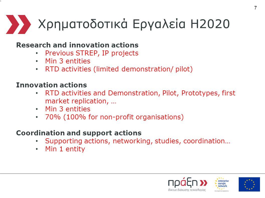7 Χρηματοδοτικά Εργαλεία Η2020 Research and innovation actions • Previous STREP, IP projects • Min 3 entities • RTD activities (limited demonstration/