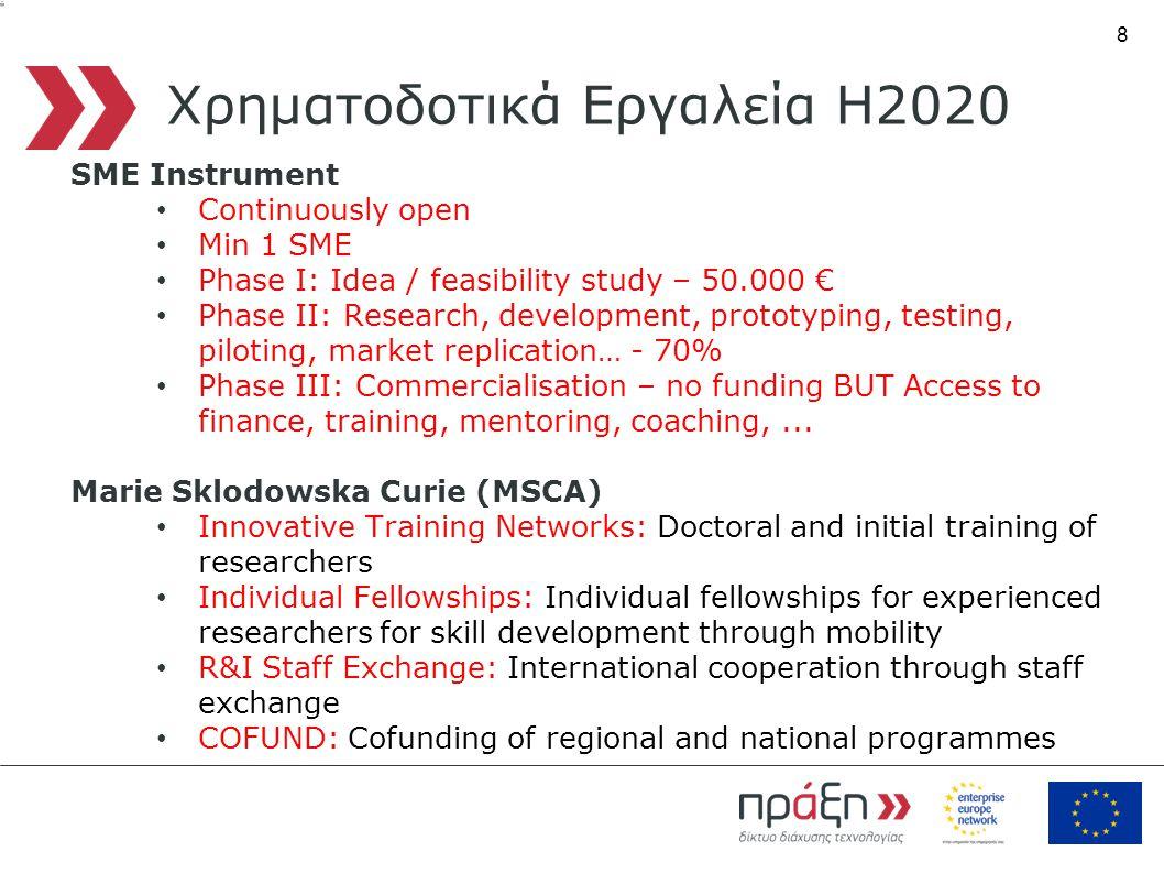 8 Χρηματοδοτικά Εργαλεία Η2020 SME Instrument • Continuously open • Min 1 SME • Phase I: Idea / feasibility study – 50.000 € • Phase II: Research, development, prototyping, testing, piloting, market replication… - 70% • Phase III: Commercialisation – no funding BUT Access to finance, training, mentoring, coaching,...