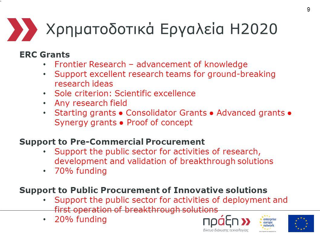 9 Χρηματοδοτικά Εργαλεία Η2020 ERC Grants • Frontier Research – advancement of knowledge • Support excellent research teams for ground-breaking resear