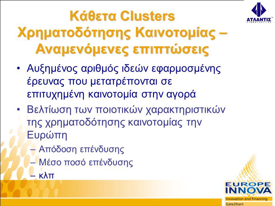 Κάθετα Clusters Χρηματοδότησης Καινοτομίας – Αναμενόμενες επιπτώσεις •Αυξημένος αριθμός ιδεών εφαρμοσμένης έρευνας που μετατρέπονται σε επιτυχημένη καινοτομία στην αγορά •Βελτίωση των ποιοτικών χαρακτηριστικών της χρηματοδότησης καινοτομίας την Ευρώπη –Απόδοση επένδυσης –Μέσο ποσό επένδυσης –κλπ