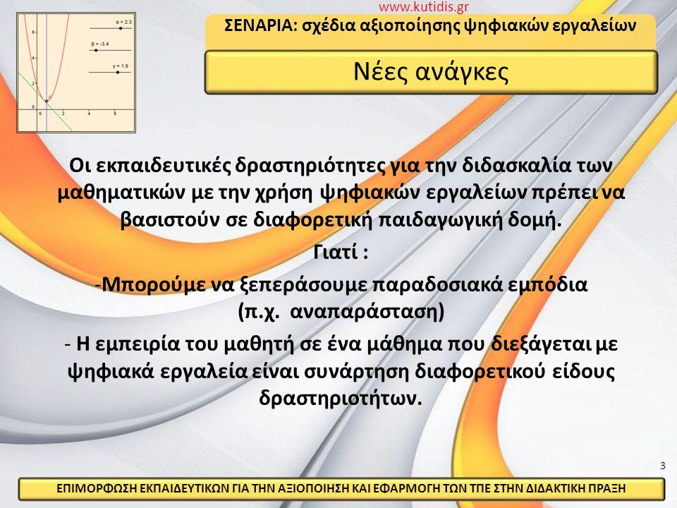 Σ Ε Ν Α Ρ Ι Ο Ένα σύνθετο εργαλείο περιγραφής της διδασκαλίας για μια συγκεκριμένη περιοχή ενός γνωστικού αντικειμένου με την χρήση εργαλείων ψηφιακής τεχνολογίας.