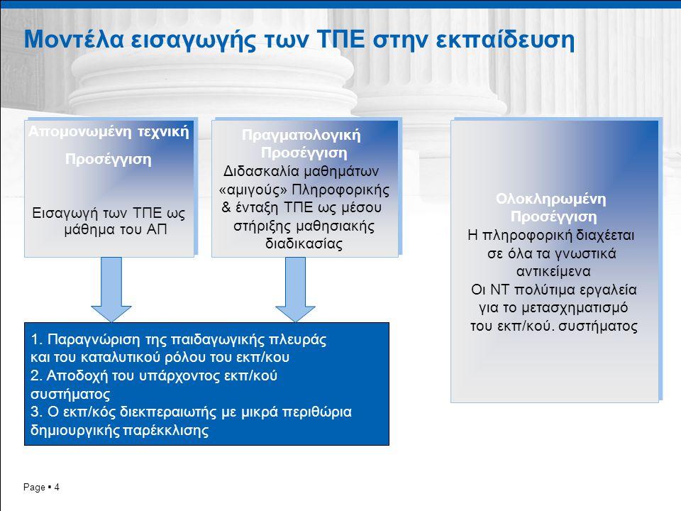Page  4 Μοντέλα εισαγωγής των ΤΠΕ στην εκπαίδευση Απομονωμένη τεχνική Προσέγγιση Εισαγωγή των ΤΠΕ ως μάθημα του ΑΠ Απομονωμένη τεχνική Προσέγγιση Εισαγωγή των ΤΠΕ ως μάθημα του ΑΠ Πραγματολογική Προσέγγιση Διδασκαλία μαθημάτων «αμιγούς» Πληροφορικής & ένταξη ΤΠΕ ως μέσου στήριξης μαθησιακής διαδικασίας Πραγματολογική Προσέγγιση Διδασκαλία μαθημάτων «αμιγούς» Πληροφορικής & ένταξη ΤΠΕ ως μέσου στήριξης μαθησιακής διαδικασίας Ολοκληρωμένη Προσέγγιση Η πληροφορική διαχέεται σε όλα τα γνωστικά αντικείμενα Οι ΝΤ πολύτιμα εργαλεία για το μετασχηματισμό του εκπ/κού.