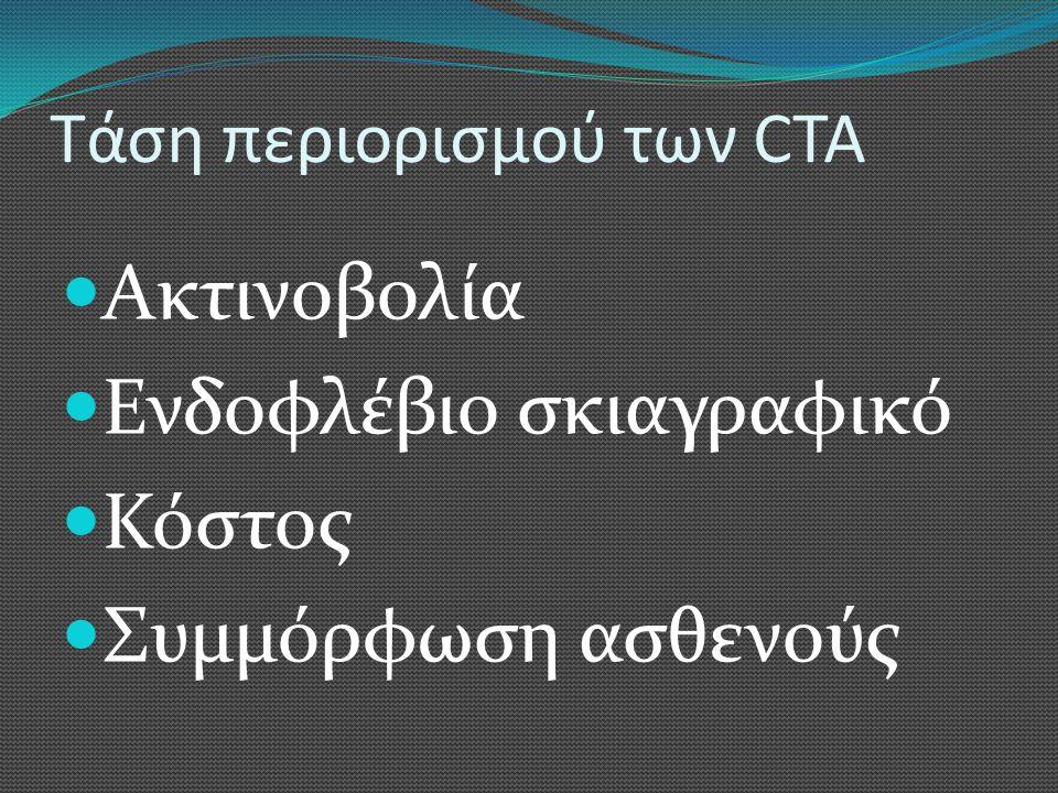 Τάση περιορισμού των CTA  Ακτινοβολία  Ενδοφλέβιο σκιαγραφικό  Κόστος  Συμμόρφωση ασθενούς