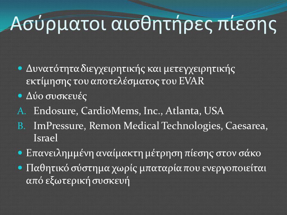 Ασύρματοι αισθητήρες πίεσης  Δυνατότητα διεγχειρητικής και μετεγχειρητικής εκτίμησης του αποτελέσματος του EVAR  Δύο συσκευές A. Endosure, CardioMem