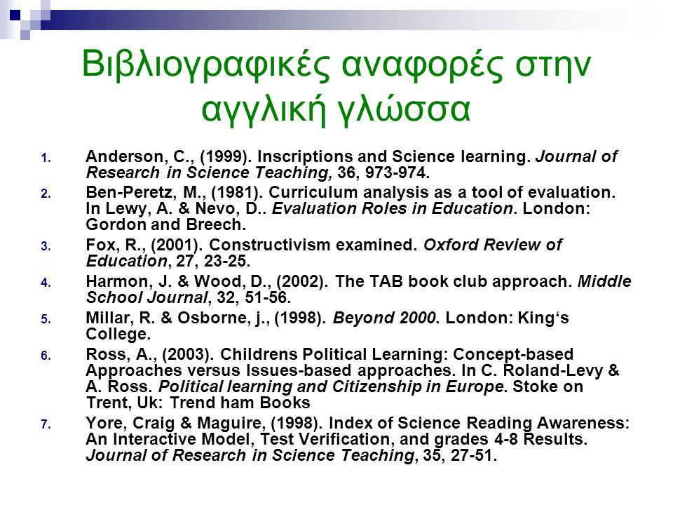 Βιβλιογραφικές αναφορές στην αγγλική γλώσσα 1. Anderson, C., (1999). Inscriptions and Science learning. Journal of Research in Science Teaching, 36, 9