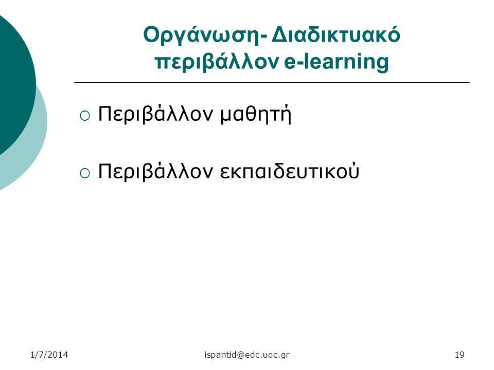 Οργάνωση- Διαδικτυακό περιβάλλον e-learning  Περιβάλλον μαθητή  Περιβάλλον εκπαιδευτικού 1/7/201419ispantid@edc.uoc.gr