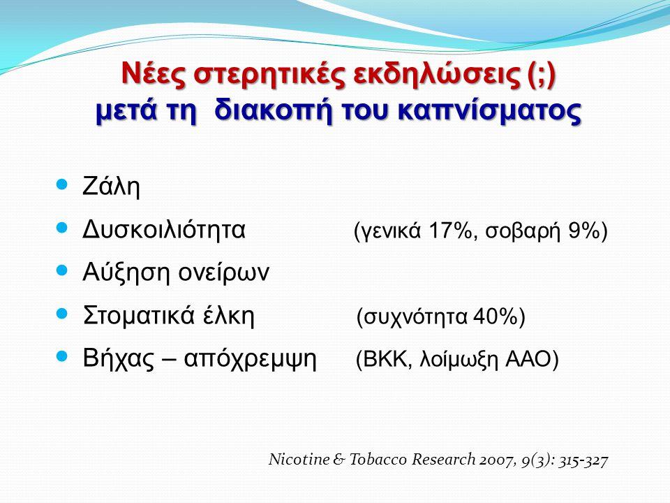 Νέες στερητικές εκδηλώσεις (;) μετά τη διακοπή του καπνίσματος  Ζάλη  Δυσκοιλιότητα (γενικά 17%, σοβαρή 9%)  Αύξηση ονείρων  Στοματικά έλκη (συχνό