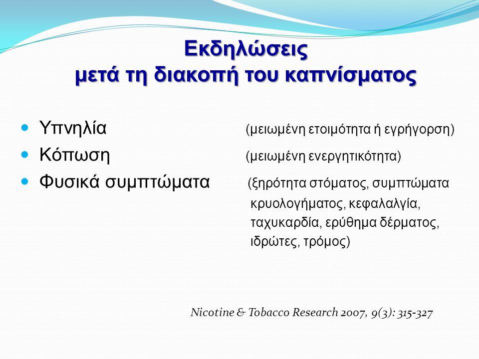 Εκδηλώσεις μετά τη διακοπή του καπνίσματος  Υπνηλία (μειωμένη ετοιμότητα ή εγρήγορση)  Κόπωση (μειωμένη ενεργητικότητα)  Φυσικά συμπτώματα (ξηρότητ