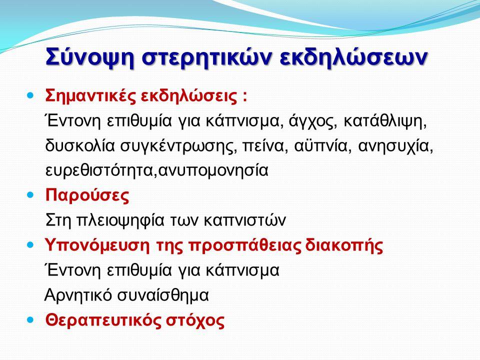 Σύνοψη στερητικών εκδηλώσεων  Σημαντικές εκδηλώσεις : Έντονη επιθυμία για κάπνισμα, άγχος, κατάθλιψη, δυσκολία συγκέντρωσης, πείνα, αϋπνία, ανησυχία,