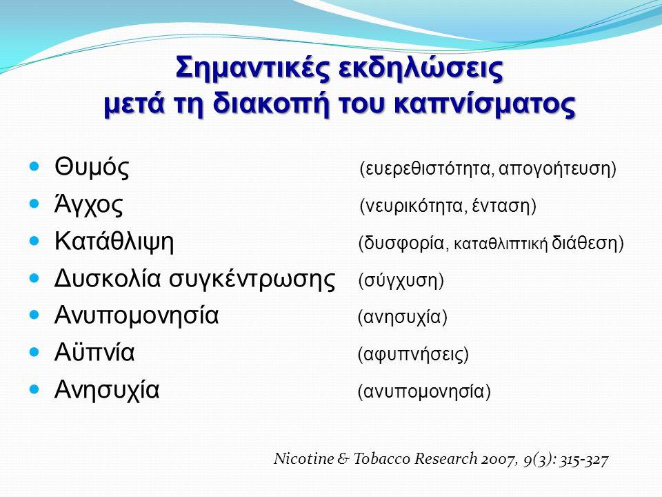 Σημαντικές εκδηλώσεις μετά τη διακοπή του καπνίσματος  Θυμός (ευερεθιστότητα, απογοήτευση)  Άγχος (νευρικότητα, ένταση)  Κατάθλιψη (δυσφορία, καταθ