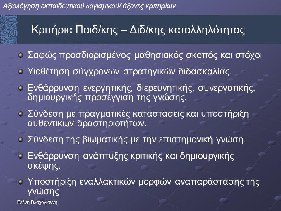 Ελένη Βλαχογιάννη Σαφώς προσδιορισμένος μαθησιακός σκοπός και στόχοι Υιοθέτηση σύγχρονων στρατηγικών διδασκαλίας. Ενθάρρυνση ενεργητικής, διερευνητική