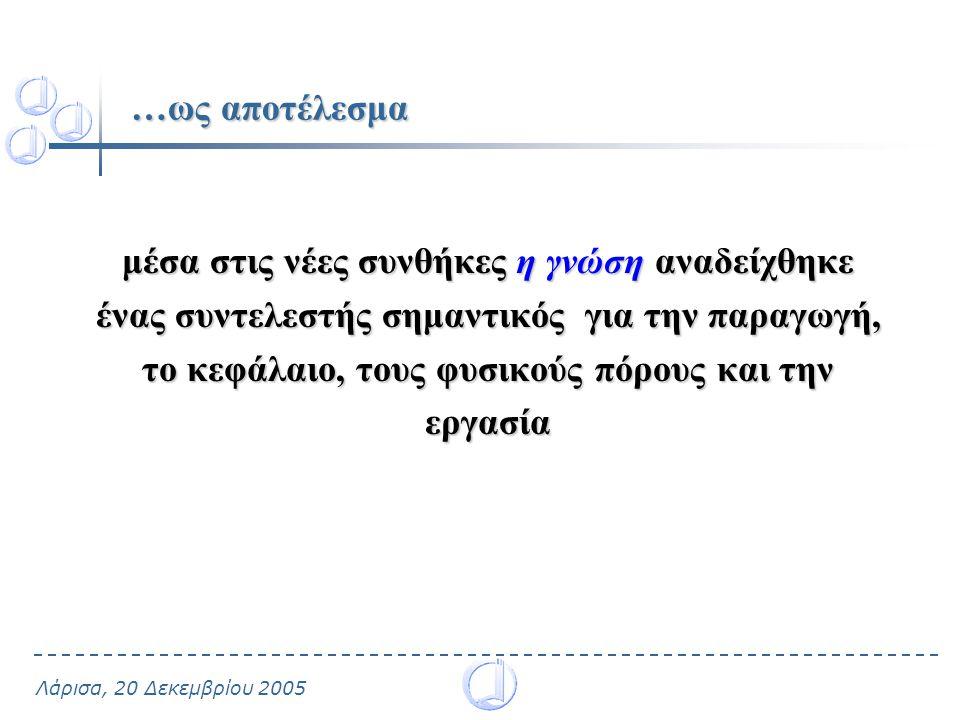 Λάρισα, 20 Δεκεμβρίου 2005 …ως αποτέλεσμα μέσα στις νέες συνθήκες η γνώση αναδείχθηκε ένας συντελεστής σημαντικός για την παραγωγή, το κεφάλαιο, τους