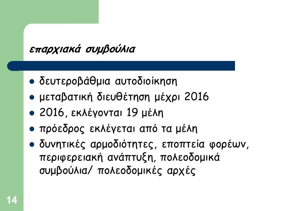 14 επαρχιακά συμβούλια  δευτεροβάθμια αυτοδιοίκηση  μεταβατική διευθέτηση μέχρι 2016  2016, εκλέγονται 19 μέλη  πρόεδρος εκλέγεται από τα μέλη  δ
