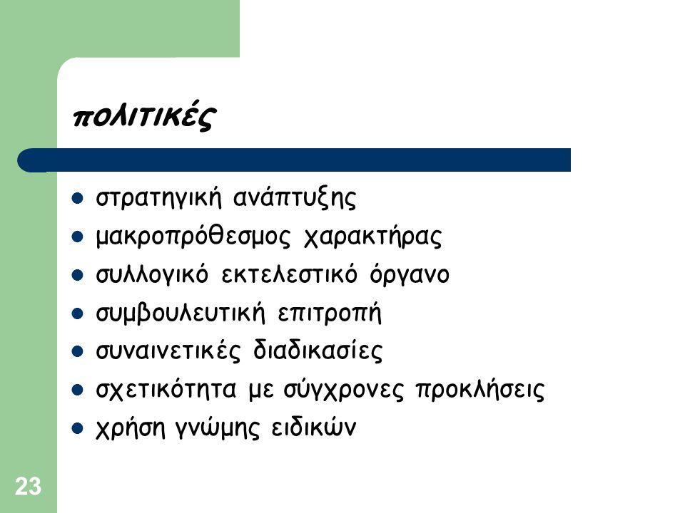 23 πολιτικές  στρατηγική ανάπτυξης  μακροπρόθεσμος χαρακτήρας  συλλογικό εκτελεστικό όργανο  συμβουλευτική επιτροπή  συναινετικές διαδικασίες  σ