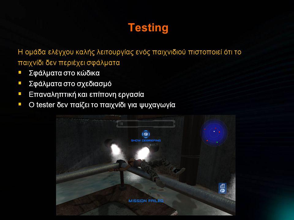 Testing Η ομάδα ελέγχου καλής λειτουργίας ενός παιχνιδιού πιστοποιεί ότι το παιχνίδι δεν περιέχει σφάλματα  Σφάλματα στο κώδικα  Σφάλματα στο σχεδιασμό  Επαναληπτική και επίπονη εργασία  Ο tester δεν παίζει το παιχνίδι για ψυχαγωγία