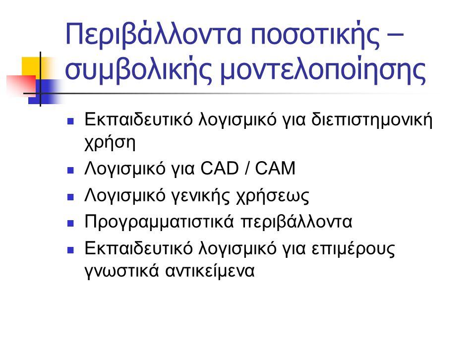 Περιβάλλοντα ποσοτικής – συμβολικής μοντελοποίησης  Εκπαιδευτικό λογισμικό για διεπιστημονική χρήση  Λογισμικό για CAD / CAM  Λογισμικό γενικής χρή