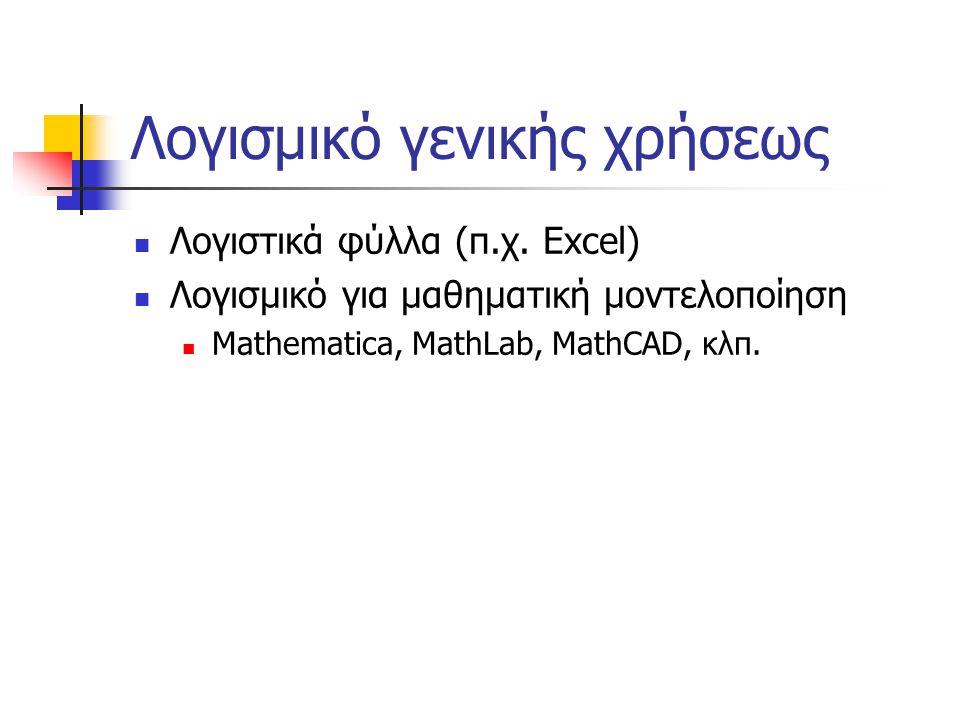 Λογισμικό γενικής χρήσεως  Λογιστικά φύλλα (π.χ. Excel)  Λογισμικό για μαθηματική μοντελοποίηση  Mathematica, MathLab, MathCAD, κλπ.