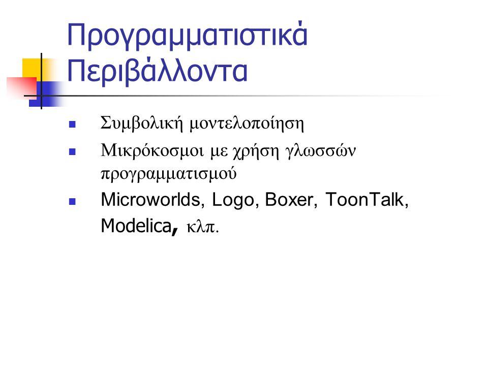 Προγραμματιστικά Περιβάλλοντα  Συμβολική μοντελοποίηση  Μικρόκοσμοι με χρήση γλωσσών προγραμματισμού  Microworlds, Logo, Boxer, ToonTalk, Modelica,
