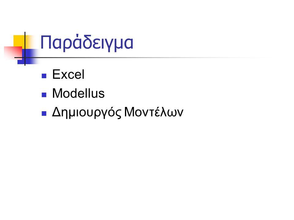 Παράδειγμα  Excel  Modellus  Δημιουργός Μοντέλων